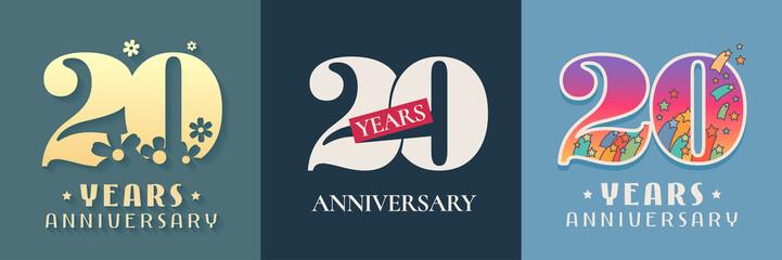 20 years anniversary celebration set of vector icon, logo