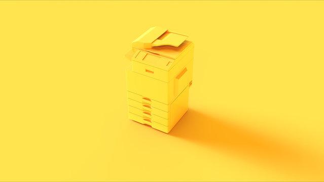 Yellow Office Printer 3d illustration 3d render