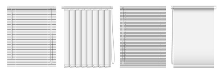 Set of horizontal and vertical window blinds. Vector realistic illustration horizontal blind curtains. Wall mural