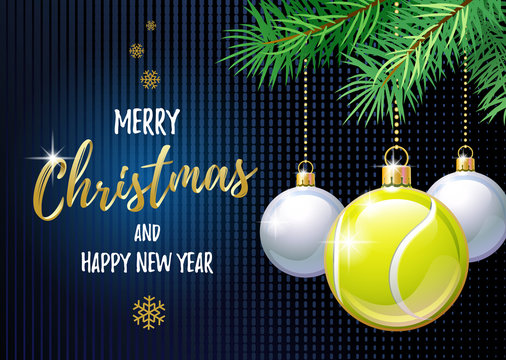 Merry Christmas and Happy New Year. Sports greeting card. Tennis ball as a Christmas ball. Vector illustration.