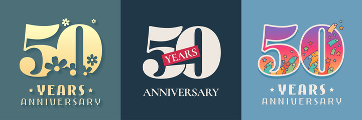 50 years anniversary celebration set of vector icon, logo