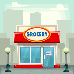 vector cartoon doodle grocery store building illustration template with cityscape silhouette background