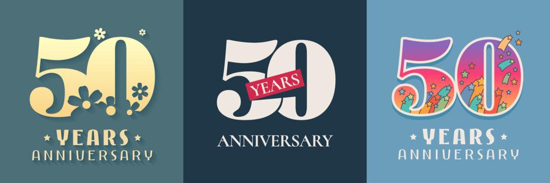 50 years anniversary celebration set of vector icon, logo