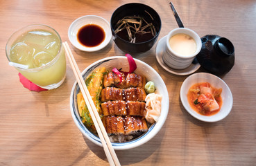 eel grilled with rice or Unagi don set on plate in Japanese style ,Japanese food and side dishes