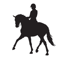 A silhouette of a dressage rider on a horse executing the half pass.