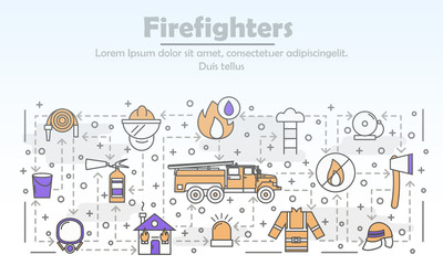 Vector thin line art firefighters poster banner template