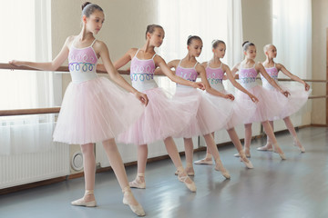 Group of young ballerinas practicing dance at classical ballet school