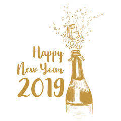 Happy New Year 2019. A bottle of champagne