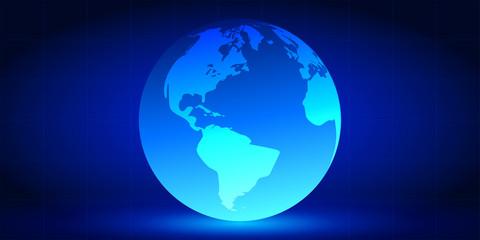 Planet on blue gradient background. Vector illustration.