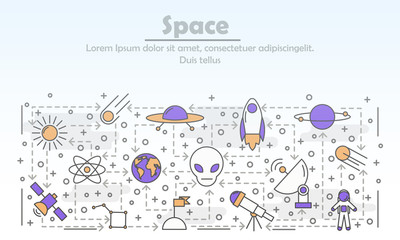 Vector thin line art space poster banner template