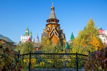 Moscow, Russia, the Palace of Russian meal in Izmailovo Kremlin. It reaches a height of 46 meters and is considered the tallest wooden Church in Russia.