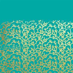 Blooming sakura golden foil on mint background