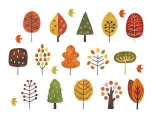 北欧の木水彩秋冬