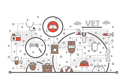 Vector thin line art vet poster banner template