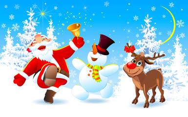 Happy Santa, deer and snowman on Christmas Eve