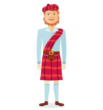 Scottish man in kilt in national clothes flat cartoon vector illustration isolated