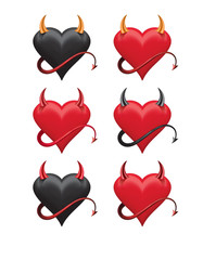 Devil hearts with sharp horns and a tail set. Vector 3d illustration