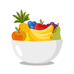 Bowl with various fruits isolated on white background. Concept of diet. Vector stock.