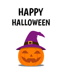 Halloween poster with smile pumpkin devil wearing witch hat on white background - Vector illustration
