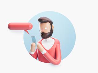 3d illustration. guy sends sms