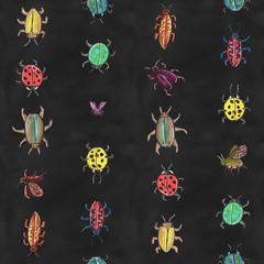 seamless hand painted watercolor beetles pattern artwork