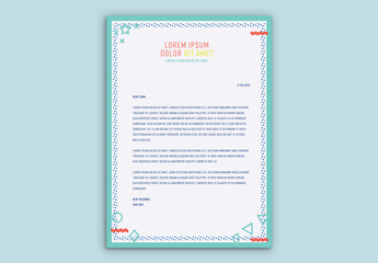 Letterhead Layout with Turquoise Elements