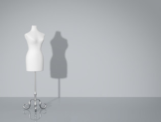 Vintage mannequin. Fashion background with copy space