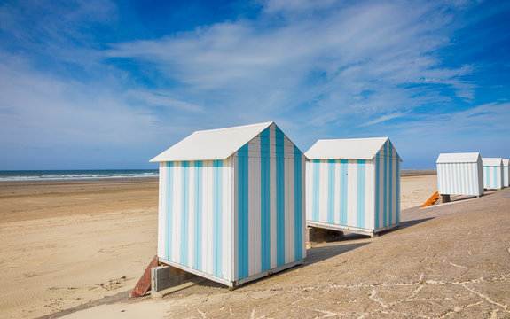 Beach cabins at Hardelot-Plage, France