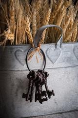 manojo de llaves antiguas junto a trigo