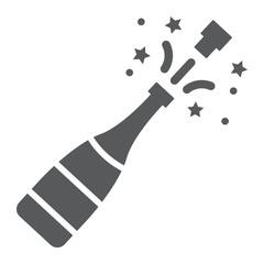 Champagne bottle pop glyph icon, alcohol and celebration, drink sign, vector graphics, a solid pattern on a white background.