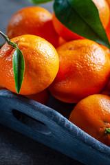 Fresh juicy clementine mandarins, winter time fruits.