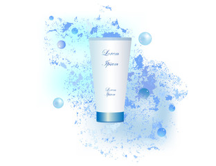 Advertising cosmetics for body care, cream, shower gel. The bottle is white, water drops on a blue background.