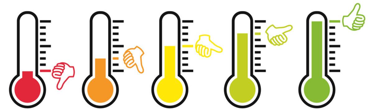 Daumen Barometer / Stimmung / Meinung / Bewertung / Gut / Schlecht / Mittel
