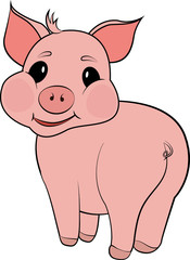 cute pig cartoon isolated on white background