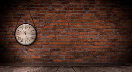 Antique clock on the old, brick wall, wooden floor, smoke, fog. Dark gloomy background of empty...