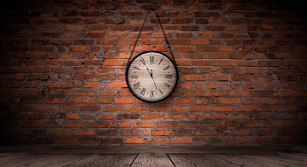 Antique clock on the old, brick wall, wooden floor, smoke, fog. Dark gloomy background of empty room.