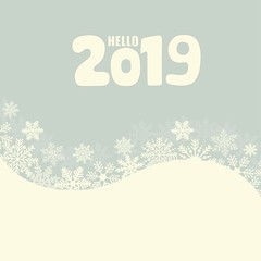Hello 2019 hand lettering inscription. Winter poster.