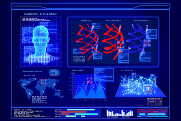 Futuristic virtual graphic artificial intelligence computer on blue background screen,illustrator picture