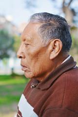 Profile of sad old native american man.