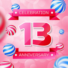 Realistic Thirteen Years Anniversary Celebration design banner. Pink numbers and pink ribbons, balloons on pink background. Colorful Vector template elements for your birthday party
