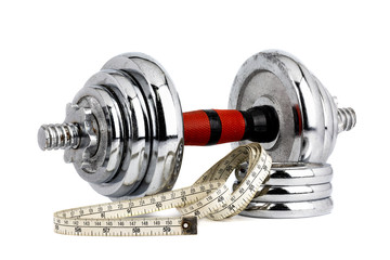 Dumbbell with measuring tape