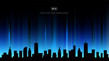 Night cityscape vector illustration. Silhouettes of urban buildings.