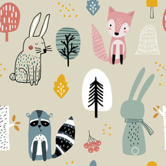Semless woodland pattern with raccoon,fox,bunny and hand drawn elements. Scandinaviann style childish texture for fabric, textile, apparel, nursery decoration. Vector illustration