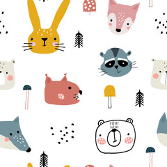 Semless woodland pattern with cute animal faces and hand drawn elements. Scandinaviann style childish texture for fabric, textile, apparel, nursery decoration. Vector illustration