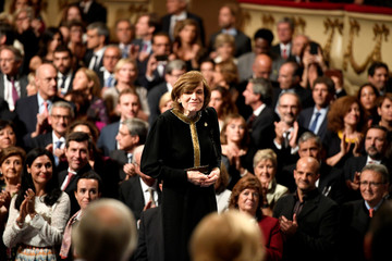U.S. marine biologist Sylvia A. Earle arrives to receive the 2018 Princess of Asturias award for Concord from Spain's King Felipe, during a ceremony at Campoamor Theatre in Oviedo