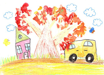 Children's drawing of the car