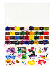 watercolor paints in box with pallet isolated