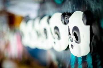 Children's carnival masks panda. Small depth of field