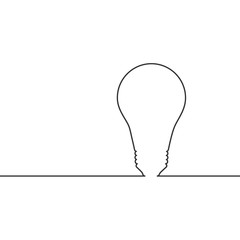 Vector image of a continuous line drawing light bulb.