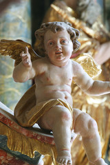 Angel statue on the altar in the Baroque Church of Our Lady of the Snow in Belec, Croatia